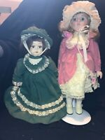 """2 OF DOLL Collectible Porcelain Edition Doll Sister 12"""" doll &"""" 15"""" doll  USED"""