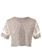 New Womens Beige Cropped Bead Crochet Braid Short Sleeve Shrug Cardigan Lace Top