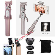4in1 LED Bluetooth Selfie Stick Monopod+Macro+Fisheye+Wide Lens Kit for iPhone X