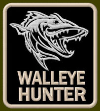 "WALLEYE HUNTER EMBROIDERED PATCH ~3-1/4""x 2-7/8"" BORDADO PARCHE AUFNÄHER FISHING"