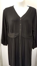 Lane Bryant Black Dress 22/24W Cute Bow Like Waist Front Back LBD Below Knee