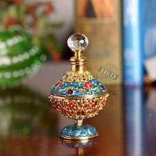 Gold Vintage Empty Jeweled Metal Glass Perfume Bottle Stopper Antique Gift