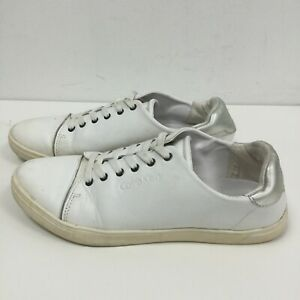 Calvin Klein Leather Trainers UK 6 White Silver Low Top Lace Up Casual 111156