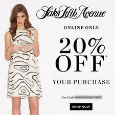 20% off SAKS FIFTH AVENUE Promo Coupon Code 2 DAYS ONLY Exp FRI 9/20 10 15 5th