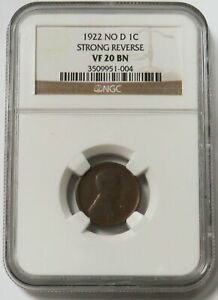1922 NO D USA LINCOLN WHEAT CENT1C COIN NGC VF 20 BN STRONG REVERSE