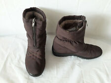 THERMO-TEX FUR LINED ANKLE SNOW BOOTS - BROWN  - SIZE 6. FRONT ZIP. LIGHWEIGHT