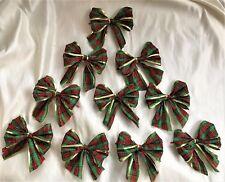 """10 X rosso/verde 5"""" Tartan Cravatta con Bordo d'Oro Per Fiocchi, Fiocchi Regalo, Albero Natale"""