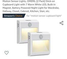 Sensor de movimiento luces, omeril [2 Pack] Adhesiva armario de luz con 7 Blanco Cálido