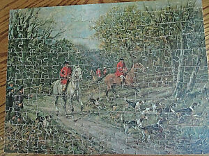 Vintage Unbranded Wooden Scroll Cut Picture Puzzle Off To The Hunt,1940s