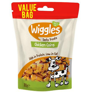 Wiggles 100% Natural Dog Treats Chicken Coins High-protein Low Fat Reseable 300g