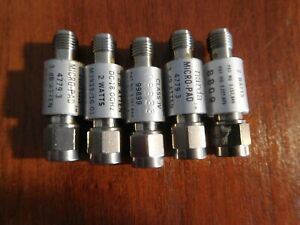Lot of 5 Narda 3 dB Attenuators, 18GHz, 4779-3