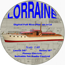 "Digital full size plans on Cd Build a Scale 1:48 Elegant motor yacht L54"" 4 R/C"