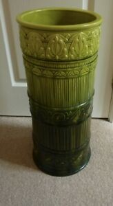 Burmantofts Faience Pottery Stick Stand Acid/Darker Green Excellent Condition
