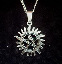 Pentagram Sun Pendant Supernatural  Anti Possession Silver Tone on 18 inch Chain