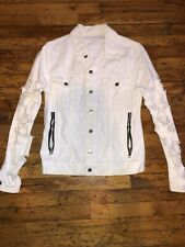 Balmain Distressed White Denim Jacket Size XS