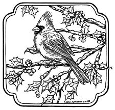 Cardinal Bird On Holly Branch Wood Mounted Rubber Stamp NORTHWOODS PP10516 New