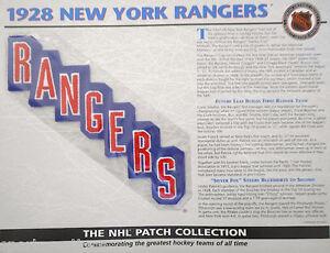 1928 NEW YORK RANGERS Willabee & Ward NHL THROWBACK HOCKEY TEAM PATCH Stat Card