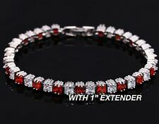Ladies Brilliant Ruby Red Top Grade Garnet Gold Plated Tennis Bracelet
