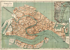 1886 Map Venice Italy Vintage Historical Wall Poster Home School Venezia Venise