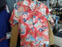 Rare VTG HAWAIIAN SILKY RAYON SHIRT  NECK LOOP TAHITI SMALL made in  JAPAN