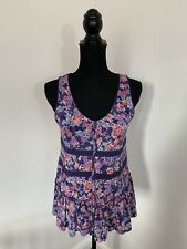 M&S Per Una Purple Floral Boho Frilly Tank Top Size 14 VGC