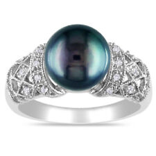Gorgeous Round Cut Black Pearl Women 925 Silver Jewelry Wedding Ring Size 9