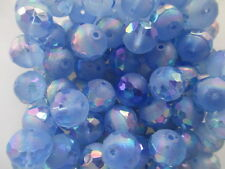 S315-20pc Vintage W German Pastel Blue Frosted Partially Faceted 12mm Glass Bead