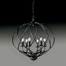 Hanging Chandelier Modern Industrial Minimal Black Silver 4 6 Lights