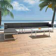 vidaXL Set Sofás Jardín 17 Pzs Negro Blanco Silla Asiento Mueble Patio Terraza