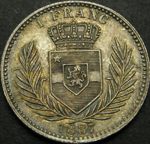 CONGO (Free State) 1 Franc 1887 - Silver - XF - 2449 ¤