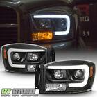 Black 2006-2008 Dodge Ram 1500 2500 3500 LED Tube Projector Headlights Headlamps  for sale
