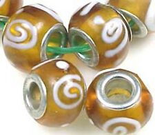 Lampwork Handmade Glass Beads Big Hole Fit Charm Bracelet Amber w/Spiral (8)