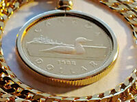 """1988 PROOF CANADA LOONIE Coin Bezel Pendant on a  24"""" Gold Filled BOX LINK Chain"""