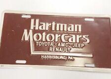 VTG Hartman Motorcars Toyota AMC Jeep Renault Harrisburg PA Dealer License Plate