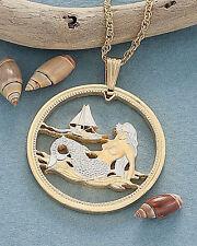"Mermaid Pendant & Necklace. Palau Coin Hand cut. 1-3/8"" diameter ( # 489 )"
