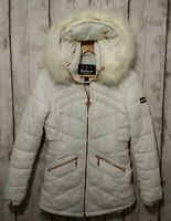 BARBOUR Fibre Down Quilted Padded Parka Coat Winter Ski Jacket White Size 10