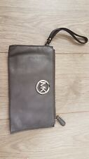 Michael kors leather grey clutch bag, silver badge