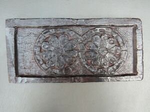 Antique wooden oak carved panel with daisy design