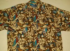 Holo Holo Hawaiian Style Short Sleeve Shirt Mens XXL Surf Board Cream Brown Blue