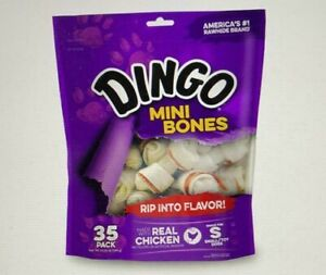 Dingo P-25002 Mini Bones, Rawhide For Small/Toy Dogs,White, 44-Count NEW