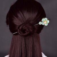 Flower Antique Hairpin Female Hair Stick Wooden Hair Fork Headdress Vintage