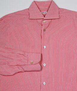 Kiton Dark Pink/White Striped Handmade Cotton Dress Shirt (40) 15 3/4 - 34/35