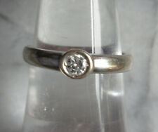 Vintage 9ct w/g 0.15ct Natural Diamond Rubover Solitaire Ring ~ R0165