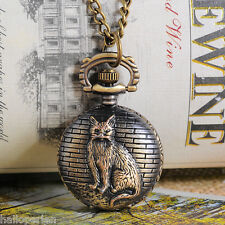 Hp rétro bronze tone chaîne collier sautoir chat quartz pocket watch cadeau 84cm