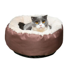 Washable Pets Bed Small Cat Dog Warm Soft Nest Animal Indoor Pad Mat Round Brown