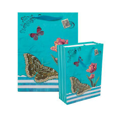 6 Pack Blue Vintage Butterfly Paper Gift Bag Packaging Gift Tote For Xmas Gift