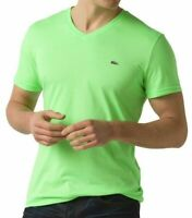 Lacoste Men's Premium Pima Cotton V-Neck Shirt T-Shirt Vert Fluo Green
