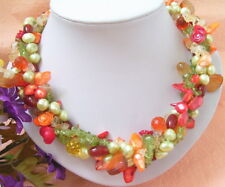 "19"" 4 Strands Pearl Peridot Agate Coral Necklace"