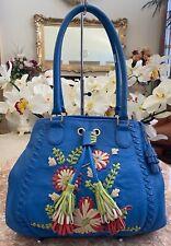 Fiore By Isabella Fiore Blue Multi Floral Leather Large Handbag Purse EUC! $598