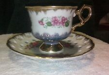 Beautiful Vintage Japanese Gilt-Footed Teacup and Matching Saucer